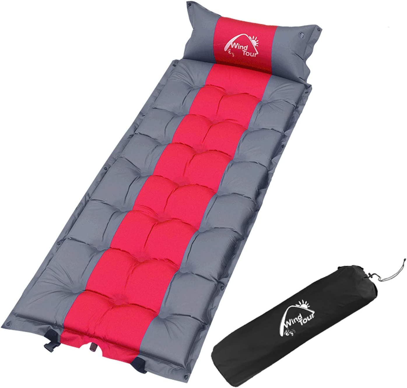 Wind Tour Sleeping Pad Self Inflating with Pillow for Camping -