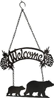 CWT Home Decor Bear Decor Welcome Sign, Laser Cut Metal, 28