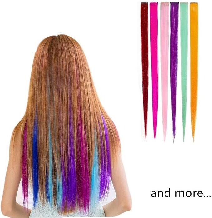 Extensiones de pelo multicolores para fiestas de 55 cm (12 piezas rectas)