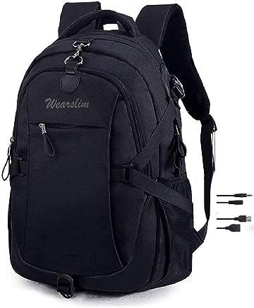 Wearslim Waterproof Anti Theft Laptop Bagpack - with USB charging & Listening port Boy Men Women Casual Backbag Travel Teenager Student School Back Pack-Black(Large Size)