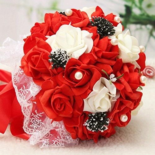 Bluelover Flor Hecha A Mano De La Rosa Flores Artificiales Novia Novia Perlas De Cristal Broche Ramo Flores - Rojo