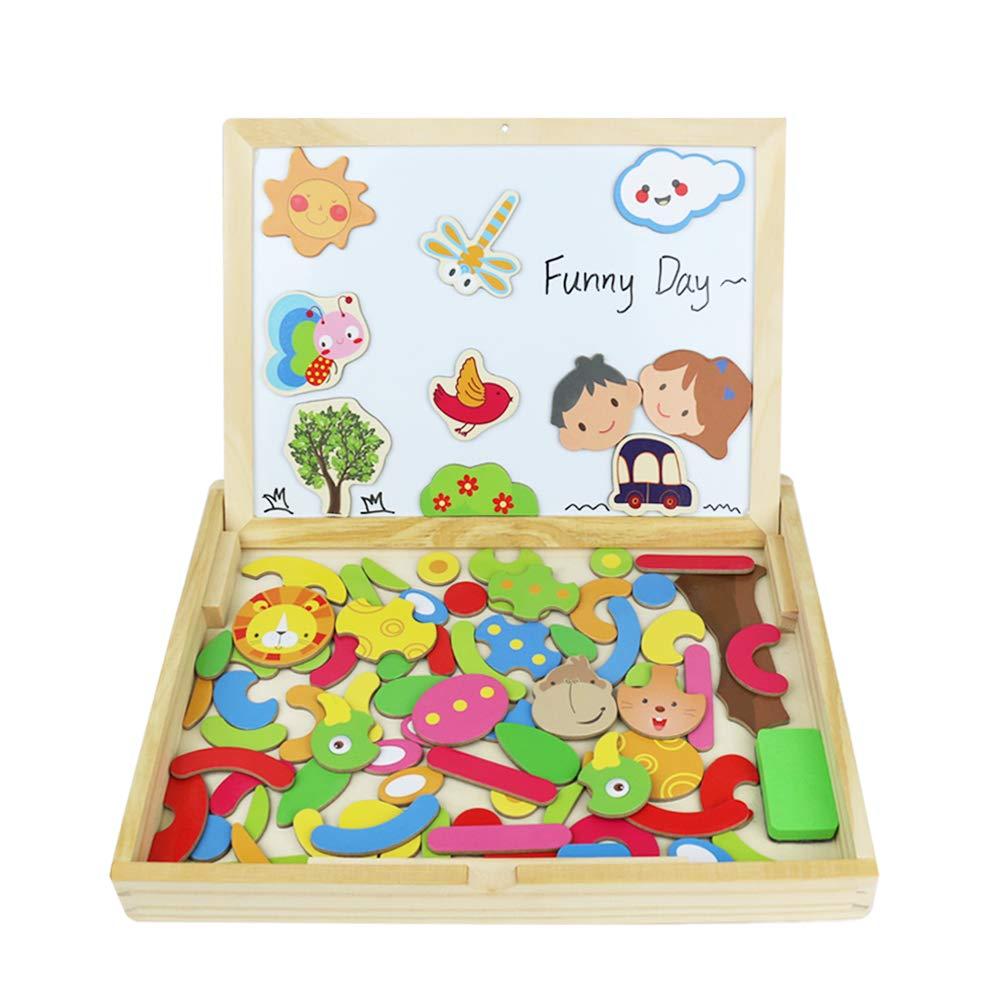 Fajiabao Puzzle Magnetico de Dibujo de Madera de Doble Cara Pizarra Magnética Infantil Puzzle Rompecabezas Juguetes Tablero Magnetico Educativos Juegos Creativos para Niños Niña 3 Años: Amazon.es: Juguetes y juegos