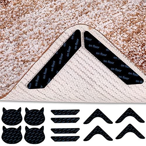 12 Pcs Bundle Rug Gripper Reusable Non Slip Rug Grippers for Drawing Room, Anti Curling Corner Carpet Tape for Wood Floors, Double Sided Carpet Tape Rugs on Hardwood in Bedroom Washroom