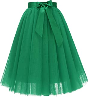 Women's Knee Length 5-Layered Tulle A-line Tutu Skirt Evening Party Prom Skirt