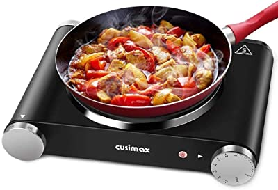 Cusimax Hot Plate Electric Burner Single Burner Cast Iron hot plates for cooking Portable Burner 1500W with Adjustable Temperature Control Stainless Steel Non-Slip Rubber Feet, Upgraded Version