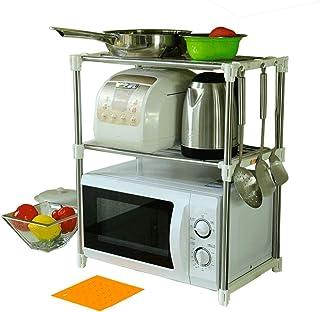 BAOYOUNI Support de Four à Micro-Ondes Extensible en Métal 2 Niveaux Étagère Cuisine Rangement Multifonction Vaisselle de ...
