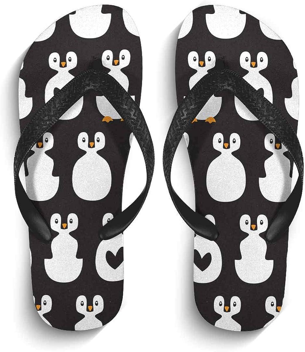 INTERESTPRINT Non-Slip Flip Flop Slippers Cute Penguins and Hearts Black with White Background Black Straps Slim Thong Sandal for Men XL