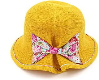 Songlin @ yuan Summer Straw Hat Flower Travel Hat Bowknot Visor Breathable Folding Sun Hat Photo Beach Hat Size:56-58cm (Color : Yellow, Size : 56-58CM)