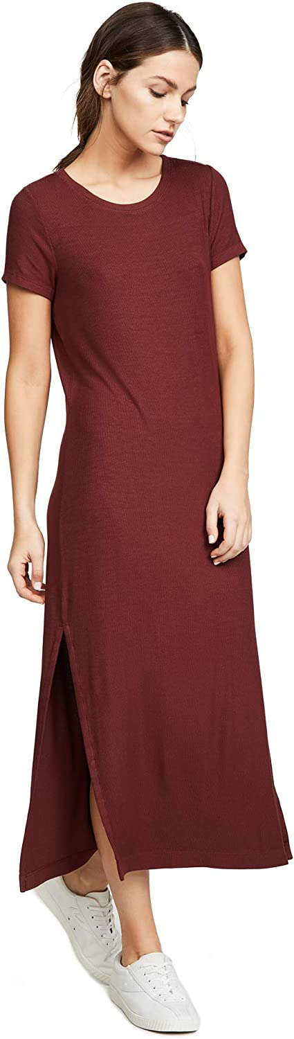 Three Dots Womens Ribbed Dress with Side Slits Casual Dress