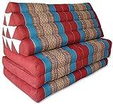 Wifash 81218 - Materasso Thai XXL a 3 strati, con schienale triangolare, divano, relax, materasso, spiaggia, piscina, prodotto in Thailandia, colore: Rosso/Blu
