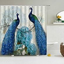 JMHX Peacock Feather Shower Curtain 3D Retro Flower Birds Bath Curtains Waterproof Bath Screen with Hooks for Bathroom