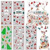 HOWAF 100 Bolsas Dulces Navidad, Celofán Bolsa, Navidad Bolsa para Galletas Relleno con Lazos Giratorios, Muñeco de Nieve Copo de Nieve y Reno de Árbol de Navidad de Papa Noel