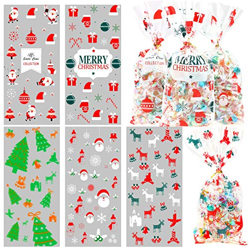 HOWAF 100pcs Christmas Candy Bags Xmas Cellophane Gift Bag Christmas Sweet Cookie Party Bag Christmas Treat Bag Goody Party Fillers Bag with Twist Ties, Santa Christmas Tree Reindeer Snowflake Snowman