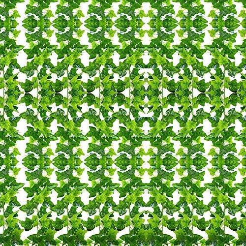 SunTop Efeu Künstlich Hängende Rebe, 2.1m-12 Stück Tropical Party Künstliche Ivy Pflanze Garland Pflanzen Rebe Hängen Laub Grün Blätter Blumen für Hausgarten Büro Hochzeit Hof Wand Festival