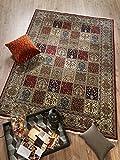 TIWA GHOM echter klassischer Orient-Felder-Teppich handgeknüpft in rot-creme, Größe: 80x150 cm - 3