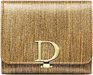 Pusaman The New D Buckle Leather Ladies Leather Wallets, Handbags Folded Short Paragraph (Color : Gold, Size : 11.5 * 10 * 3CM)