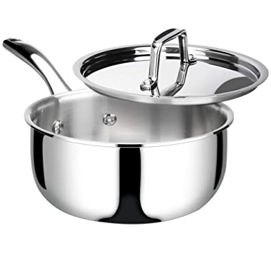Duxtop Whole-Clad Tri-Ply Stainless Steel Saucepan with Lid, 3 Quart, Kitchen Induction Cookware