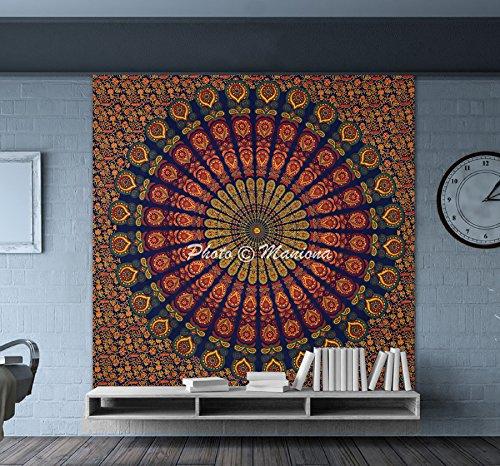 Maniona Crafts Plume de paon Mandala hippie Tapisserie indien traditionnel Couvre-lit de plage Couvre-lit Décoration murale Décor de Dortoir