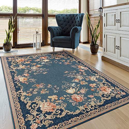 Taleta Kiana Teppich Blumen Orientalisch Wohnzimmer Marineblau Rosa Größe:120 x 170 cm