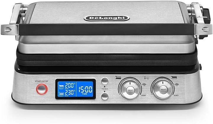 De`longhi cgh1020d multigrill bistecchiera grill elettrico, argento, 2000 w CGH 1020D
