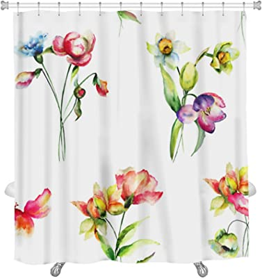 """Gear New Floral Pattern Shower Curtain, 74"""" x 71"""""""