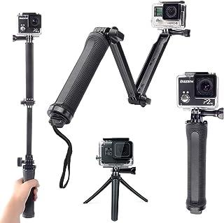 【G-Techo】GoPro アクセサリー 3Way 自撮り棒 防水 GoPro hero7/hero6/hero5/hero4/muson 対応 軽量 三脚 一脚 折り畳み ゴープロ セルカ棒 アングル調整可能