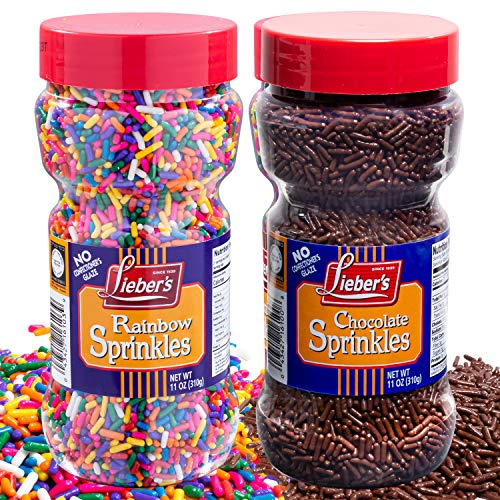 Lieber's Rainbow & Chocolate Sprinkles Bundle Pack | Tasty Colorful & Chocolatey Jimmies Are A Great Dessert Topping For Cooking, Baking & Decorating Ice Cream | 11 Ounces