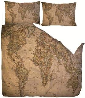 CMYKYUH Housse de Couette 220 x 240 cm Carte Ancienne Polyester imprimé Parure de lit avec Fermeture à glissière Housse de...
