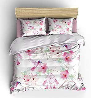 WishColorful Dream Catchers Duvet Cover Sets Twin Size,3 Pcs Hummingbirds Flowers Bedding Set with 2 Pillowcases,NO Comforter and Sheet