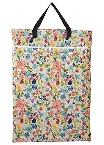 Hibaby Large Hanging Wet/dry Cloth Diaper Pail Bag For Reusable Diapers Or Laundry (Bloom)