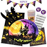 Gxhong Halloween Party Stoviglie, 92PCS Set di Stoviglie USA e Getta Contiene Piatti di Carta di Halloween Tazze di Carta Tovaglioli di Paglia Tovaglia Forchette Gagliardetti Striscioni (10 Ospiti)