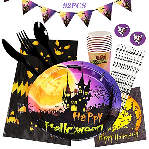 Gxhong Vajilla para fiesta de Halloween, 92PCS Juego de vajilla desechable, Vajilla para Cumpleaños Diseño de Halloween que contiene Platos de papel, Tazas, Servilletas, Mantel, Tenedores, Banderines