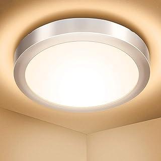 Plafonnier LED 18W, Elfeland Luminaire Plafonnier 1700LM Blanc Chaud 3000K Éclairage de Plafond Étanche IP54 Plafonnier Ch...
