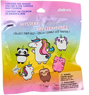 Claire's Girl's Mystery Figurines Unicorn Mommy & Me Collectible Toy Blind Bag - 2 Pack Contains One Mommy Unicorn & One Surprise Baby Figurine for Kids