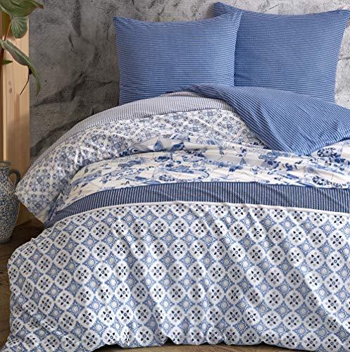 Leonado Vicenti - Bettwäsche-Set 100% Baumwolle Renforce Bezug Kissen Schlafzimmer Set Moderne Farben wählbar, Anzahl der Teile:2-teilig 155x220 cm, Farbe, Design:Blau. Paisleymuster