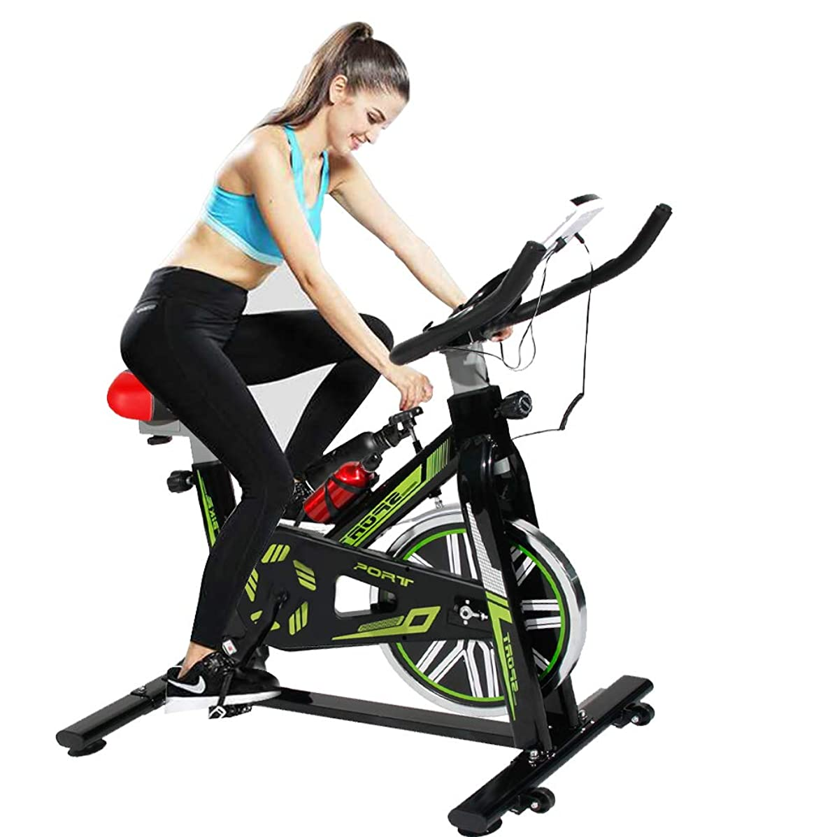 SogesHome Stationary Exercise Bike Indoor Cycling Bicycle Indoor Spinning Exercise Bike,LCD Display Bicycle Heart Pulse Trainer Bike with Belt Drive, Green and Black JS-2002-SH