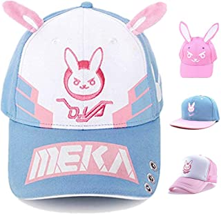 D.Va Bunny Snapback Baseball Hat Game cosplay Accessories Props(Blue one size)