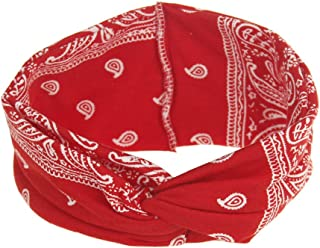 DINPREY Assorted Paisley Print Wide Bandana Knot Headbands Criss Cross Head Wrap Hair Band (Red)