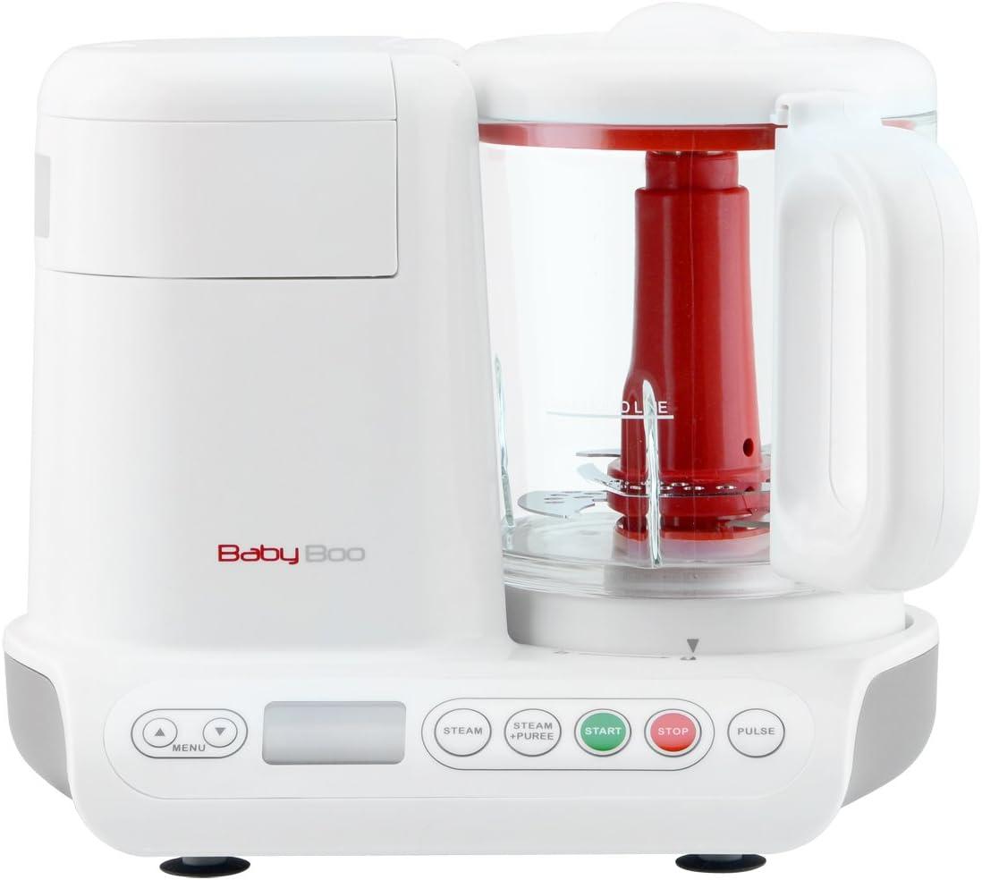 H.Koenig Babyboo Robot de Cocina para Bebés 2 en 1, Cocción al Vapor y Batidora, 200 W, Capacidad de 950 mL, Blanco BB80, Cristal