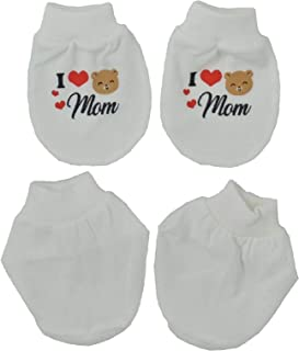 Tollyjoy Plain Mitten Bootee Set with Print I love Daddy/Mummy, White/Red, 23g