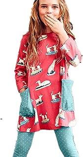 Toddler Little Girl Stripe Cotton Long Sleeve Casual Pocket Dresses for Legging