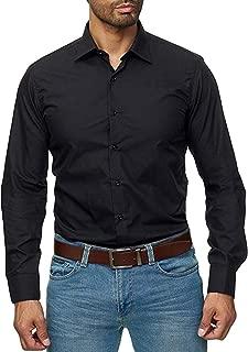 Men's Euro-American Business Casual Pure Color Lapel Long Sleeve Shirt Slim fit Tops Button Shirt
