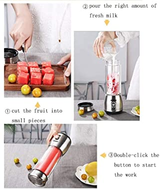 WJDFS 400Ml Mini Juicer Rechargeable Multi-Function Electric Juice Cup Home Portable Juice Cup Fruit Juicer Machine