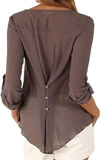 Junshan Women's Blouse Long Sleeve Loose Big Size Chiffon Shirt v Collar Shirts