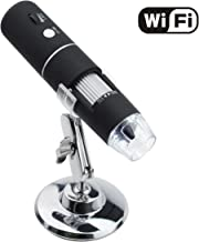 Wireless Digital WiFi USB Microscope 50X To 1000X Magnification Mini Handheld Endoscope Inspection Camera with 8 LEDs with Metal Stand, Compatible with iPhone, iPad, Android Smartphone, Mac, Windows