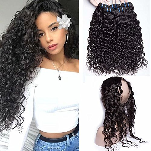 Maxine Hair 360 Lace Frontal with 3 Bundles Water Wave Unprocessed Virgin Brazilian Hair Bundles with Frontal 360 Wet and Wavy Bundles Natural Color(1
