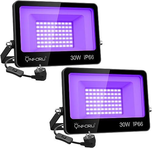 Onforu Lot de 2 Projecteur UV LED 30W, Lumière Noire IP66 Imperméable, Lampe LED Ultra-violet, Eclairage à Effet pour...