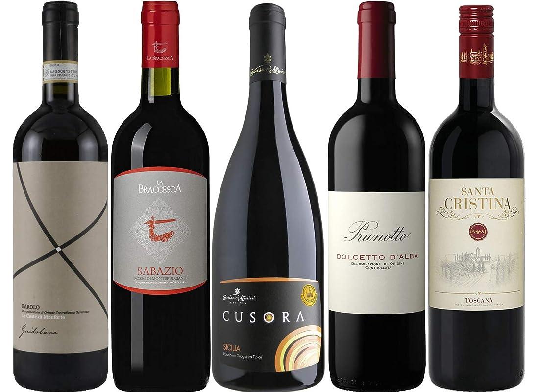 サークル広がり変なイタリア最高峰ワイン「バローロ」が入った赤ワイン5本セット [ 3750ml ]