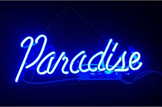 Blue Paradise Real Glass Neon Sign Beer Bar Pub Store Home Room Party Light Sign Neon Lamp Wall Artwork Sign, Prepaid Custom Duty(14