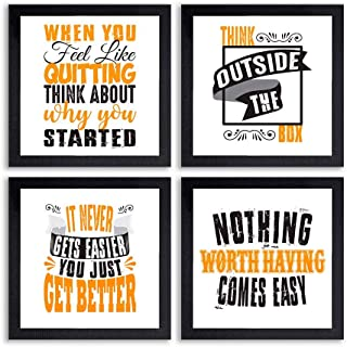 PnF® Set of 4 Motivational QUOTES-021-(28x28inch,Synthetic,Multicolour)
